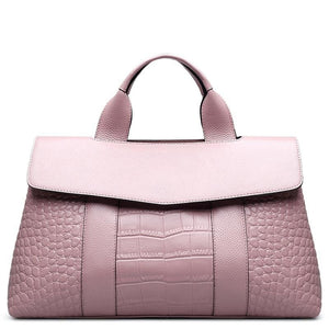 Crocodile Patterned Genuine Leather Handbag - Available in Multiple Colours