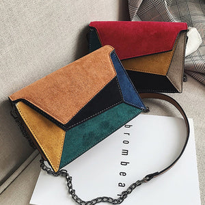 Small Geometrical PU Leather Flap Cross-Body Bag
