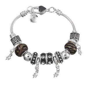 Murano Beaded Silver Bracelet with Crystal Charms - Available in Multiple Colours