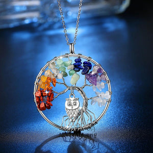Multicoloured Tree of Life with Owl Necklace