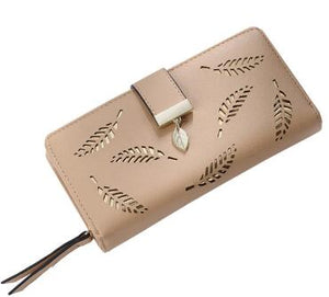 Hollowed Out Leave Print PU Leather Purse