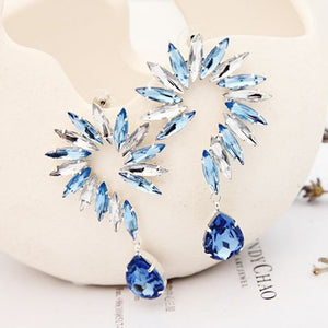 Flower Shaped Crystal Drop Earrings - Available in Multiple Colours