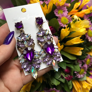Crystal and Rhinestone Drop Earrings - Available in Multiple Colours