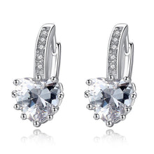 Load image into Gallery viewer, Silver Earrings with Heart Shaped Stone - Available in Multiple Colours