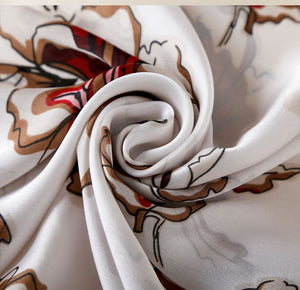 Elegant Floral Patterned Satin Scarf - Available in Multiple Colours