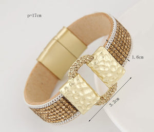 Sparkling PU Leather Bracelet with Rhinestones - Available in Multiple Colours