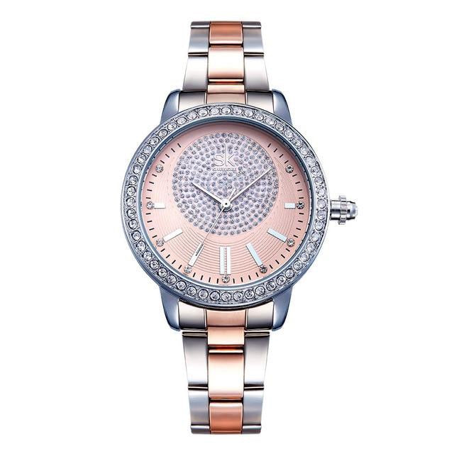 SK Stainless Steel Crystal Quartz Watch - Available in Multiple Colours