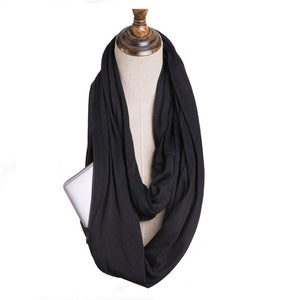 Terylene Scarf with Zipper Pocket - Available in Multiple Styles and Colours