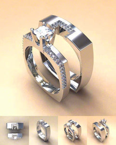 Cubic Zirconia Silver Set of 2 Rings - Available in Multiple Size