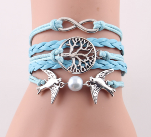 Multilayered PU Leather Bracelet with 3 Charms - Available in Multiple Colours