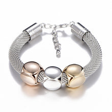 Load image into Gallery viewer, Titanium Steel Mesh Geometry Bracelet Big Thick Chain Adjustable New Style Women Bracelet Gold Silver Color Bangles
