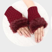 Load image into Gallery viewer, Knitted Wool&Plush Fingerless Gloves - Available in Multiple Colours