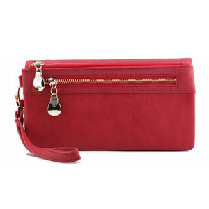 Suede Effect PU Leather Purse with Zip Pocket and Strap