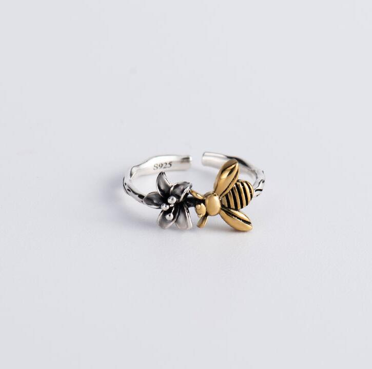 Sterling Silver Adjustable Bee Shaped Ring