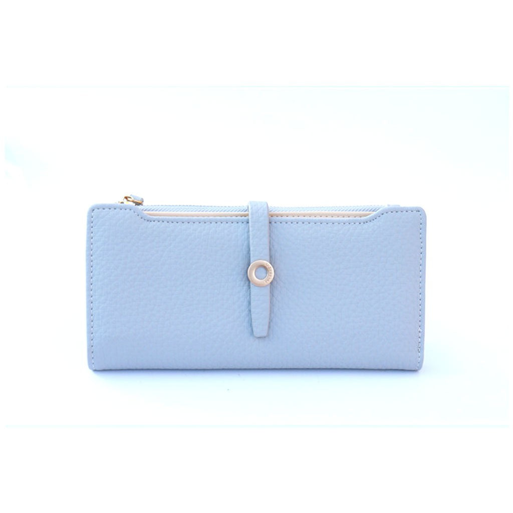 Sky-Blue PU Leather Purse