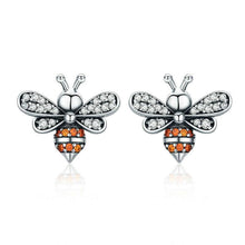 Load image into Gallery viewer, 925 Sterling Silver Bee Shaped Stud Earrings