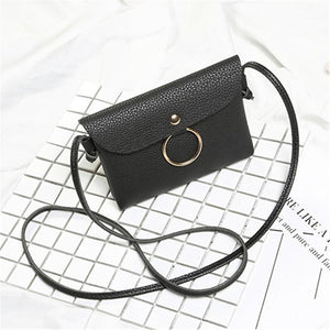 Glossy PU Leather Cross-Body Bag with Circle Pendant