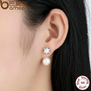 BAMOER 925 Sterling Silver Simulated Pearls Jewelry Special Style Female Drop Earrings SCE002