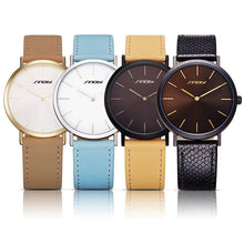 Load image into Gallery viewer, SINOBI Numberless Stainless Steel Quartz Watch with PU Leather Strap - Available in Multiple Colour