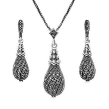 Load image into Gallery viewer, Vintage Silver&Black Drop Shaped Set of 2