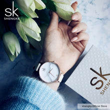 Load image into Gallery viewer, SK Elegant Stainless Steel PU Leather Strap Quartz Watch - Available in Multiple Colours