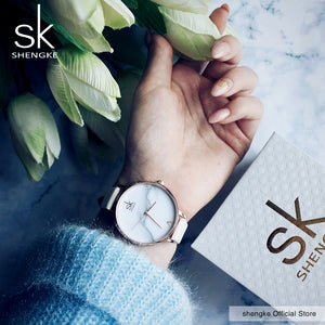 SK Elegant Stainless Steel PU Leather Strap Quartz Watch - Available in Multiple Colours