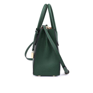 Split Leather Handbag with Lock Pendant - Available in Multiple Colours