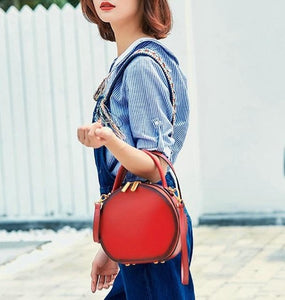Round Shaped Genuine Leather Cross-Body Bag - Available in Multiple Colours