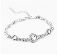 Load image into Gallery viewer, Ocean Heart Silver Bracelet with Crystals - Available in Multiple Colours