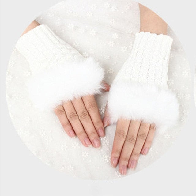 Knitted Wool&Plush Fingerless Gloves - Available in Multiple Colours