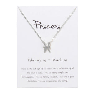 12 Constellation Zodiac Pendant Zinc Alloy Necklace - Available in Multiple Colours