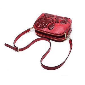 Rose Patterned Split Leather Cross-Body Bag - Available in Multiple Colours