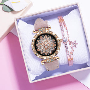 Watch and Bracelet with Star Pendant Combination - Available in Multiple Colours