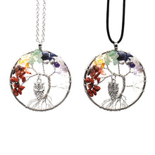 Load image into Gallery viewer, Multicoloured Tree of Life with Owl Necklace