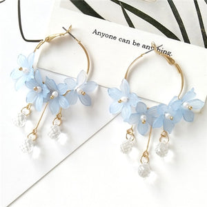 Acrylic Floral Dangling Earrings - Available in Multiple Colours