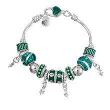 Load image into Gallery viewer, Murano Beaded Silver Bracelet with Crystal Charms - Available in Multiple Colours
