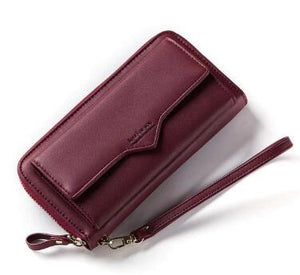 Elegant PU Leather Purse with Extra Pocket and Strap