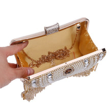 Load image into Gallery viewer, Tassel Beaded Metal Clutch with Rhinestones