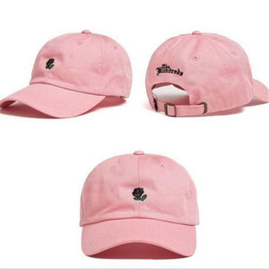 Rose Embroidered Cotton Baseball Cap - Available in Multiple Colours