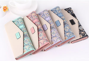 Luxury Floral Patterned PU Leather Purse