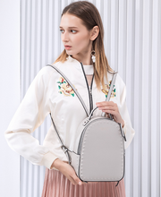 Load image into Gallery viewer, Grey Split Leather Backpack