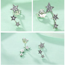 Load image into Gallery viewer, 925 Sterling Silver Trio of Stars Stud Earrings