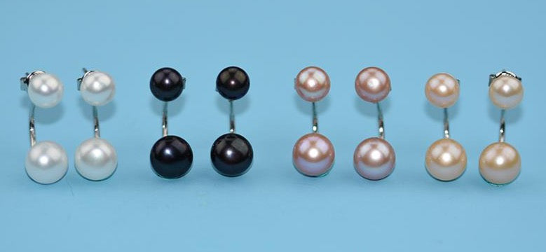 Stud Earrings Sterling Silver Plated with Imitation Pearls - Available in Multiple Colours