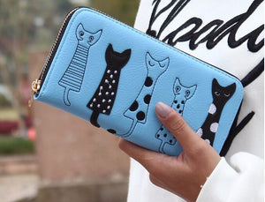 Cat Embroidery PU Leather Purse