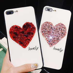 Glittered Heart Print iPhone Cover - Available in Multiple Colours