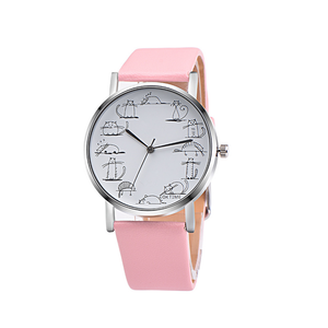 """A Day in the Life of a Cat"" PU Leather Strap Quartz Watch - Available in Multiple Colours"