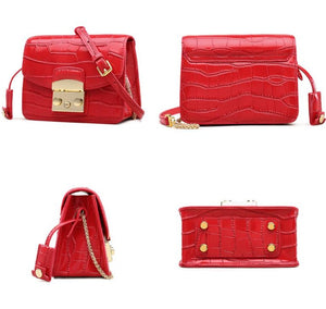 Crocodile Patterned Split Leather Crossbody Bag - Available in Multiple Colours