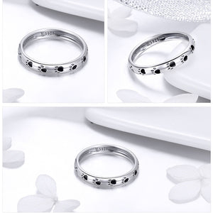 Sterling Silver Paw Print Ring - Available in Multiple Sizes
