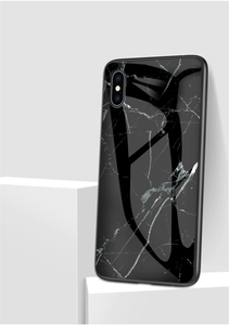 Marble Patterned Tempered Glass iPhone Cover - Available in Multiple Colours