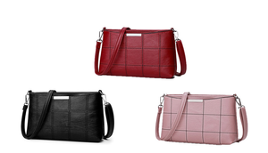 Checked PU Leather Cross-Body Bag